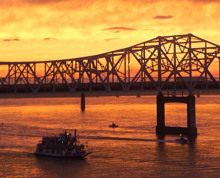 Belle of Louisville at sunset