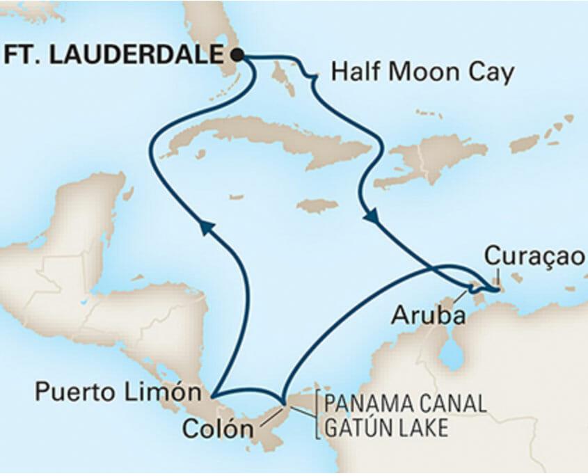 Panama Canal & Southern Caribbean Cruise Map