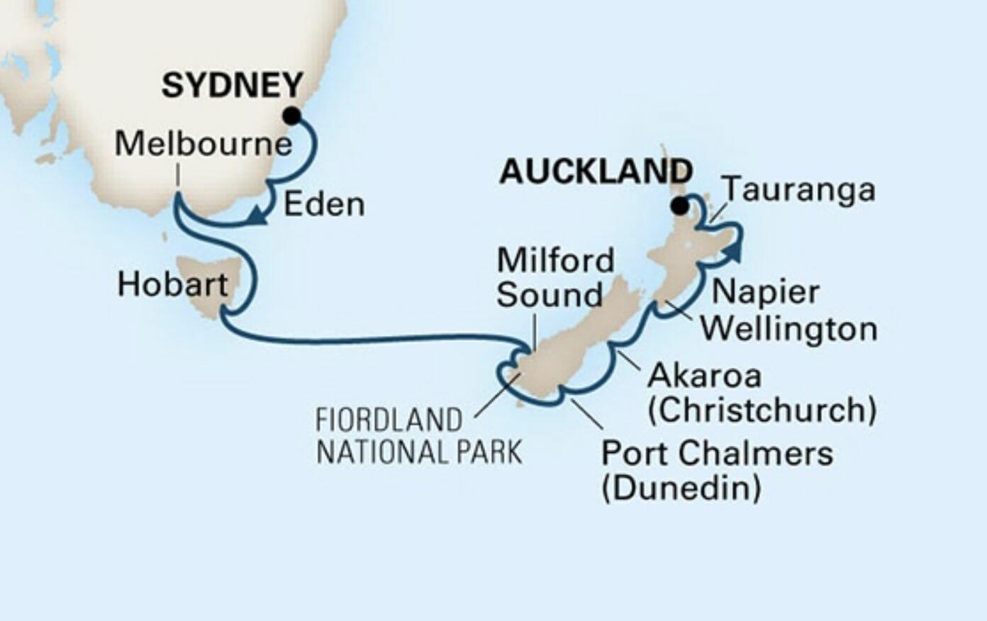 Australia and New Zealand Cruise Map